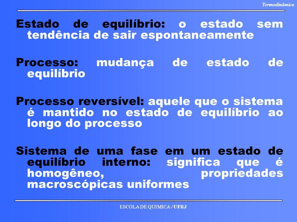 ESCOLA DE QUIMICA / UFRJ Termodinâmica Estado de equilíbrio: o estado sem tendência de sair espontaneamente Processo: mudança de estado de equilíbrio