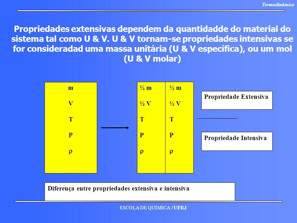 ESCOLA DE QUIMICA / UFRJ Termodinâmica Propriedades extensivas dependem da quantidadde do material do sistema tal como U & V. U & V tornam-se propried