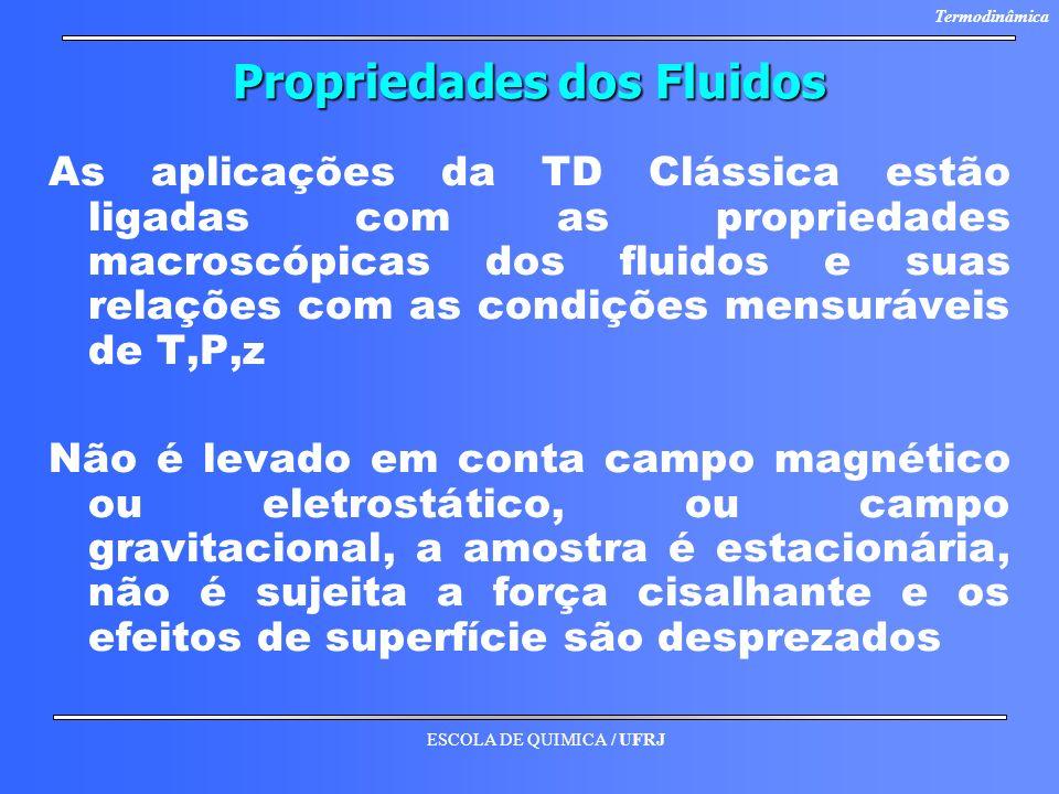 ESCOLA DE QUIMICA / UFRJ Termodinâmica Propriedades dos Fluidos As aplicações da TD Clássica estão ligadas com as propriedades macroscópicas dos fluid