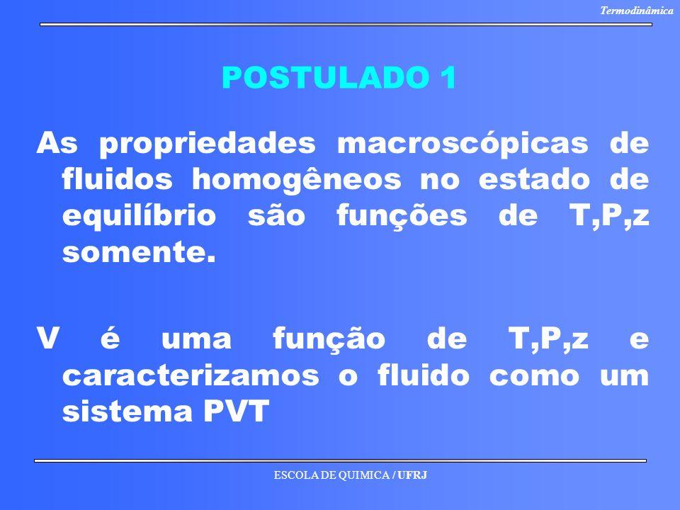 ESCOLA DE QUIMICA / UFRJ Termodinâmica POSTULADO 1 As propriedades macroscópicas de fluidos homogêneos no estado de equilíbrio são funções de T,P,z so