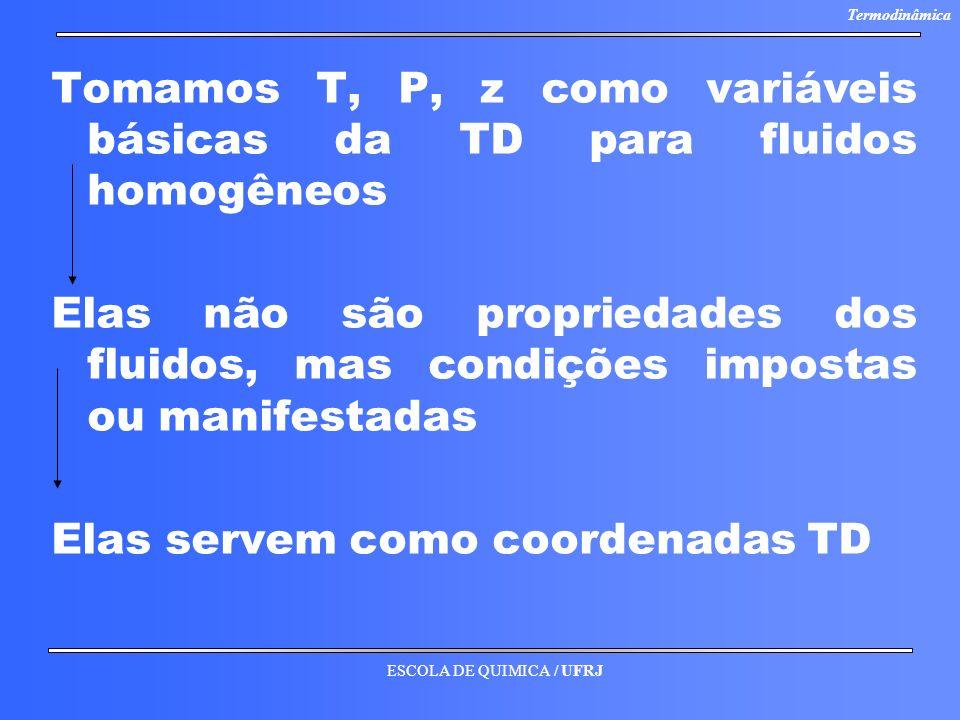 ESCOLA DE QUIMICA / UFRJ Termodinâmica Tomamos T, P, z como variáveis básicas da TD para fluidos homogêneos Elas não são propriedades dos fluidos, mas