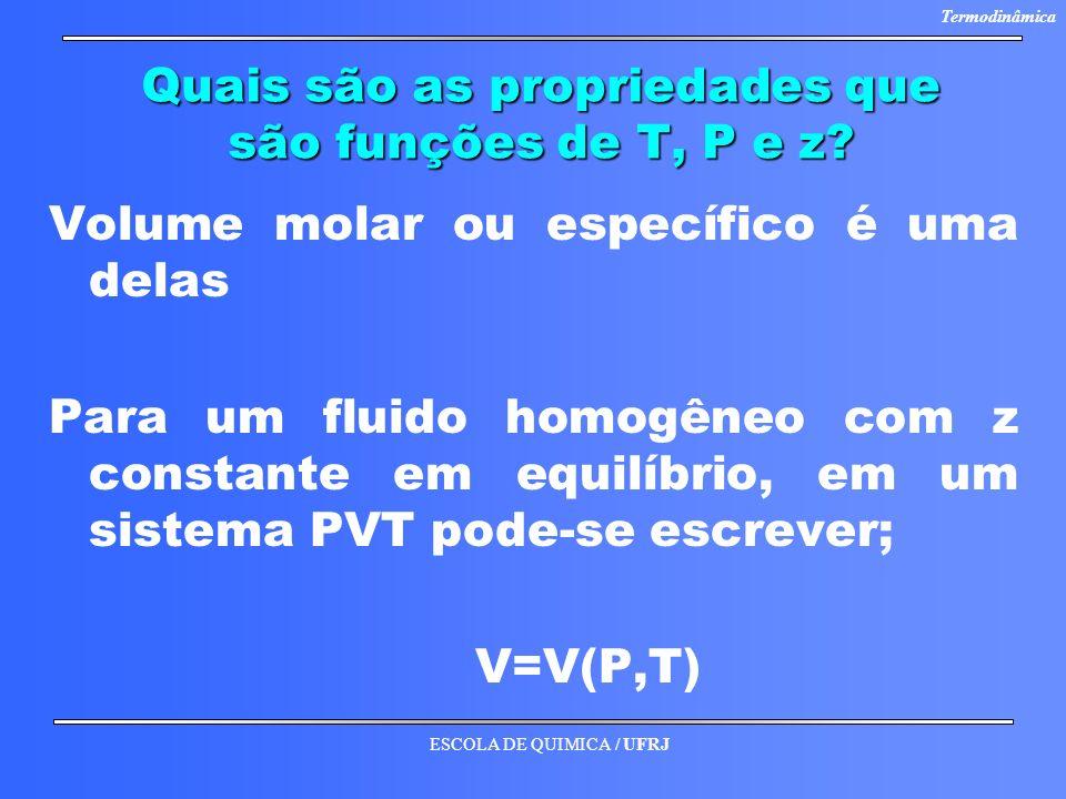 ESCOLA DE QUIMICA / UFRJ Termodinâmica Quais são as propriedades que são funções de T, P e z? Volume molar ou específico é uma delas Para um fluido ho