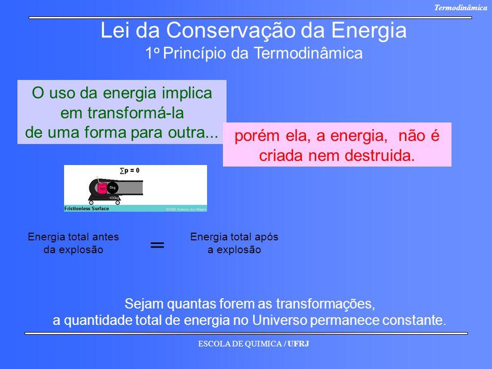 ESCOLA DE QUIMICA / UFRJ Termodinâmica Lei da Conservação da Energia 1 o Princípio da Termodinâmica O uso da energia implica em transformá-la de uma f