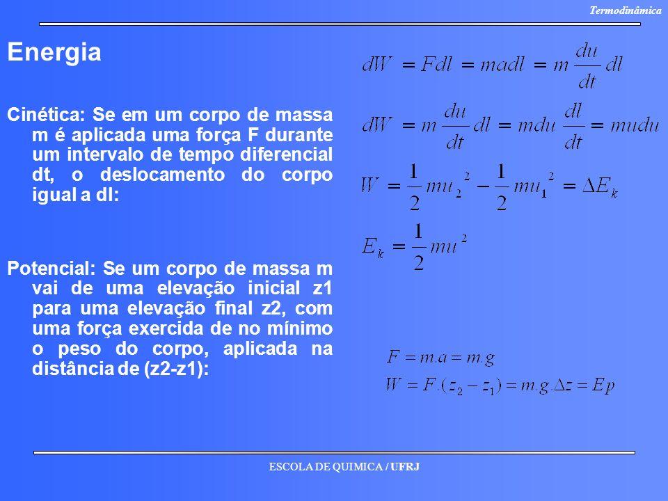 ESCOLA DE QUIMICA / UFRJ Termodinâmica Energia Cinética: Se em um corpo de massa m é aplicada uma força F durante um intervalo de tempo diferencial dt