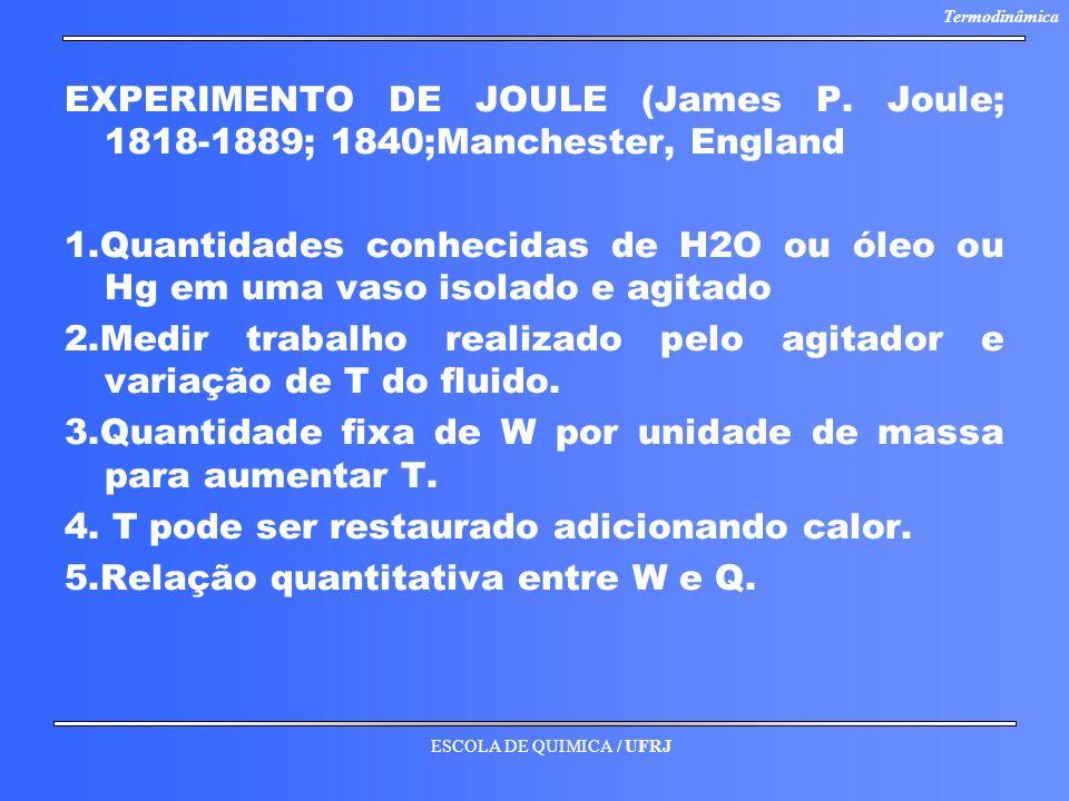 ESCOLA DE QUIMICA / UFRJ Termodinâmica EXPERIMENTO DE JOULE (James P. Joule; 1818-1889; 1840;Manchester, England 1.Quantidades conhecidas de H2O ou ól