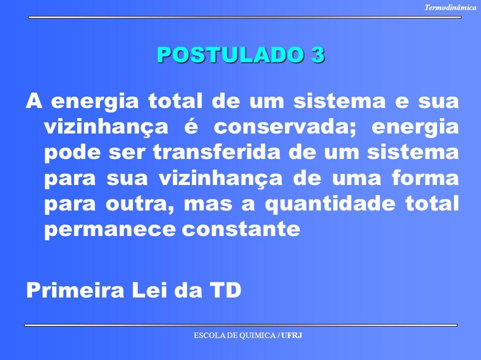 ESCOLA DE QUIMICA / UFRJ Termodinâmica POSTULADO 3 A energia total de um sistema e sua vizinhança é conservada; energia pode ser transferida de um sis