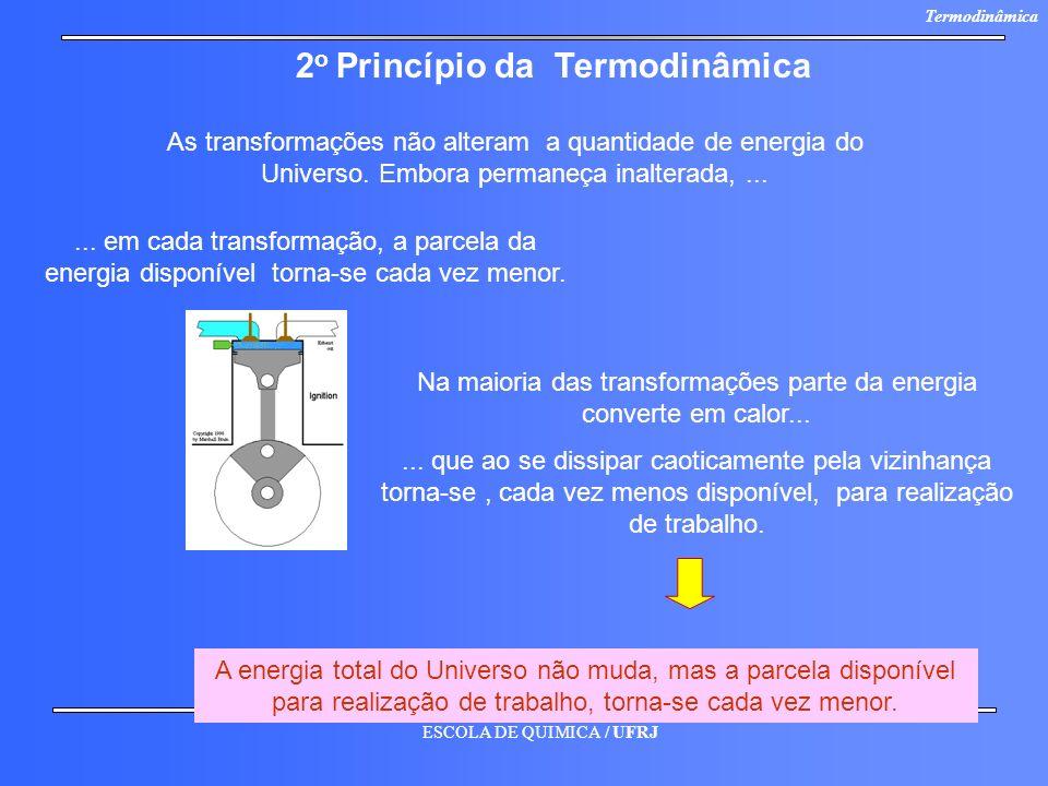 ESCOLA DE QUIMICA / UFRJ Termodinâmica As transformações não alteram a quantidade de energia do Universo. Embora permaneça inalterada,...... em cada t