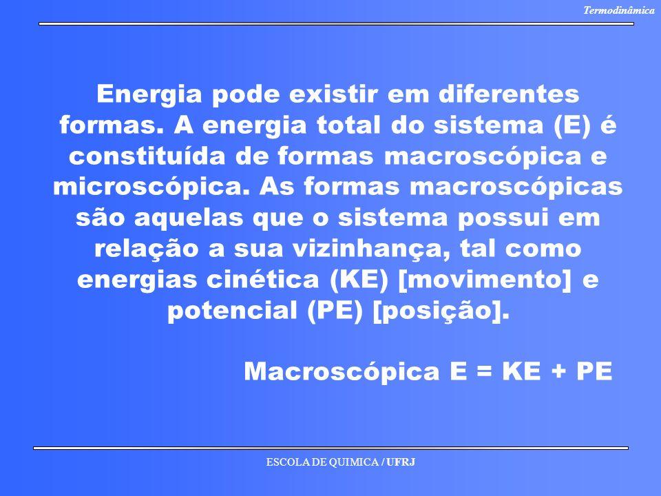 ESCOLA DE QUIMICA / UFRJ Termodinâmica Energia pode existir em diferentes formas. A energia total do sistema (E) é constituída de formas macroscópica