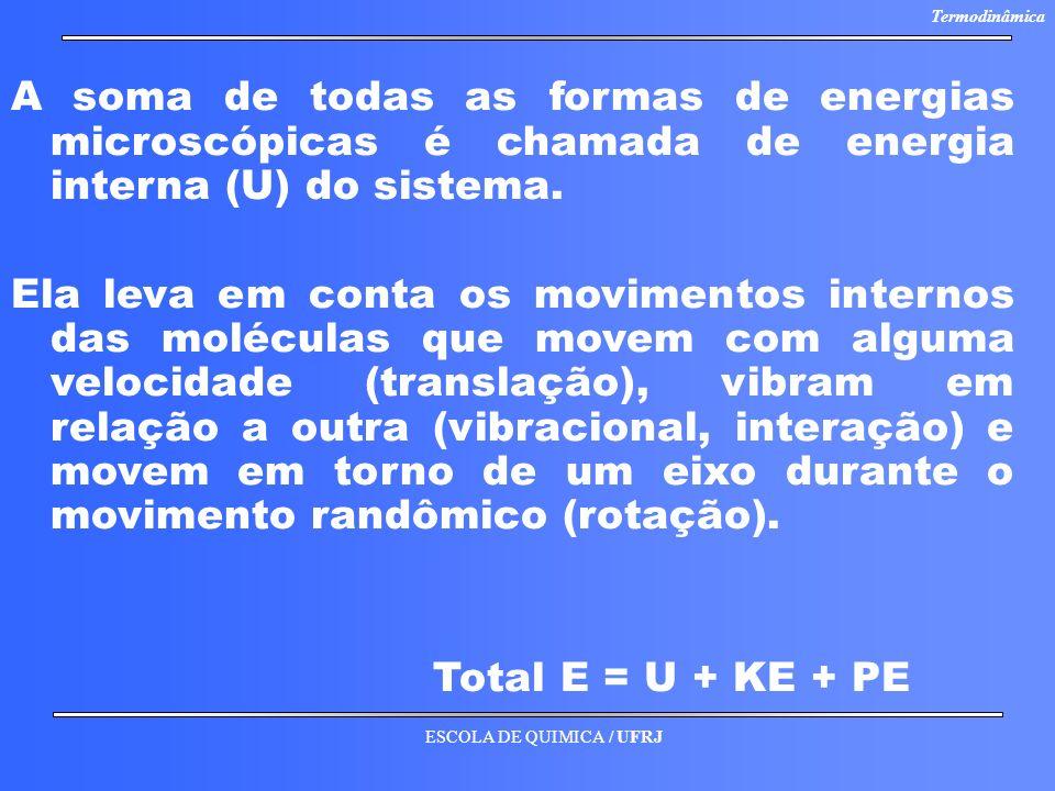ESCOLA DE QUIMICA / UFRJ Termodinâmica A soma de todas as formas de energias microscópicas é chamada de energia interna (U) do sistema. Ela leva em co