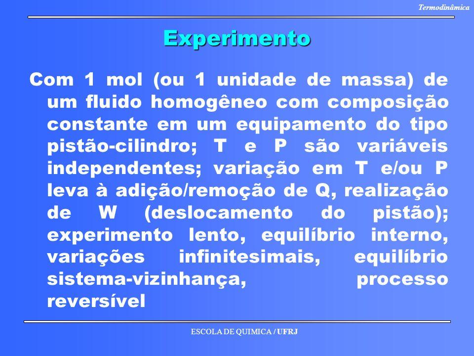 ESCOLA DE QUIMICA / UFRJ TermodinâmicaExperimento Com 1 mol (ou 1 unidade de massa) de um fluido homogêneo com composição constante em um equipamento
