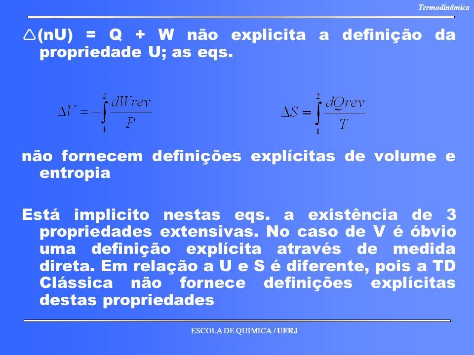 ESCOLA DE QUIMICA / UFRJ Termodinâmica (nU) = Q + W não explicita a definição da propriedade U; as eqs. não fornecem definições explícitas de volume e