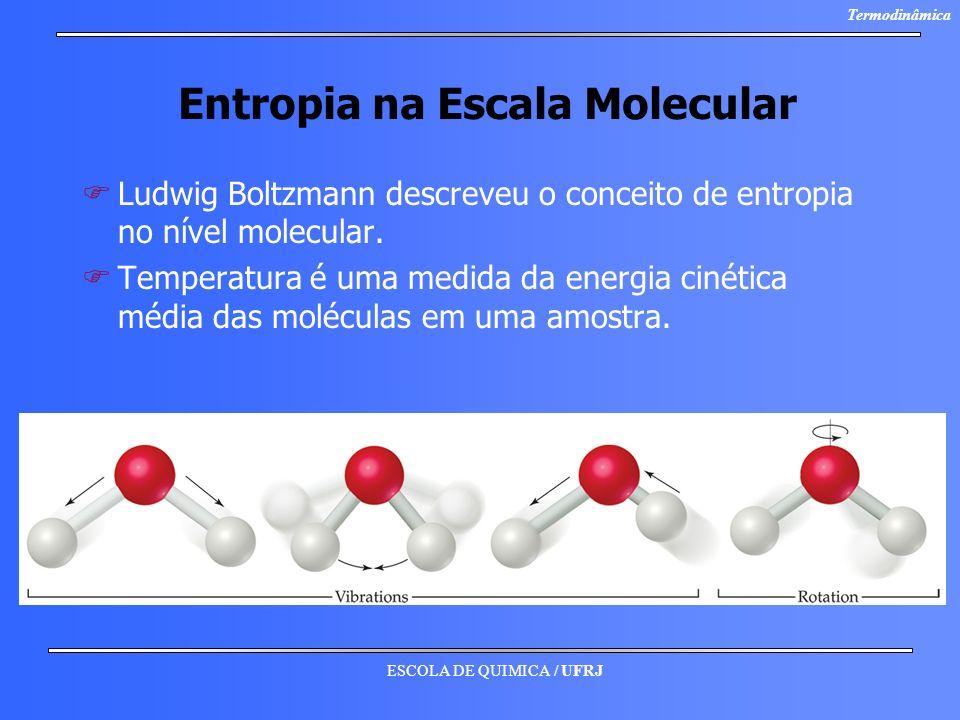 ESCOLA DE QUIMICA / UFRJ Termodinâmica Entropia na Escala Molecular F FLudwig Boltzmann descreveu o conceito de entropia no nível molecular. F FTemper