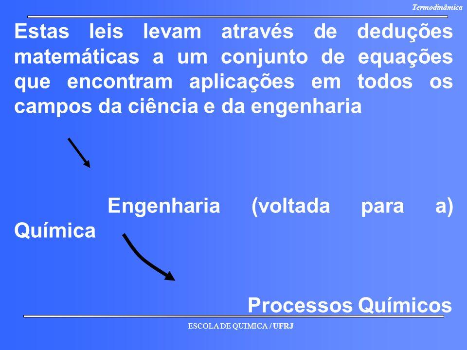 ESCOLA DE QUIMICA / UFRJ Termodinâmica Estas leis levam através de deduções matemáticas a um conjunto de equações que encontram aplicações em todos os