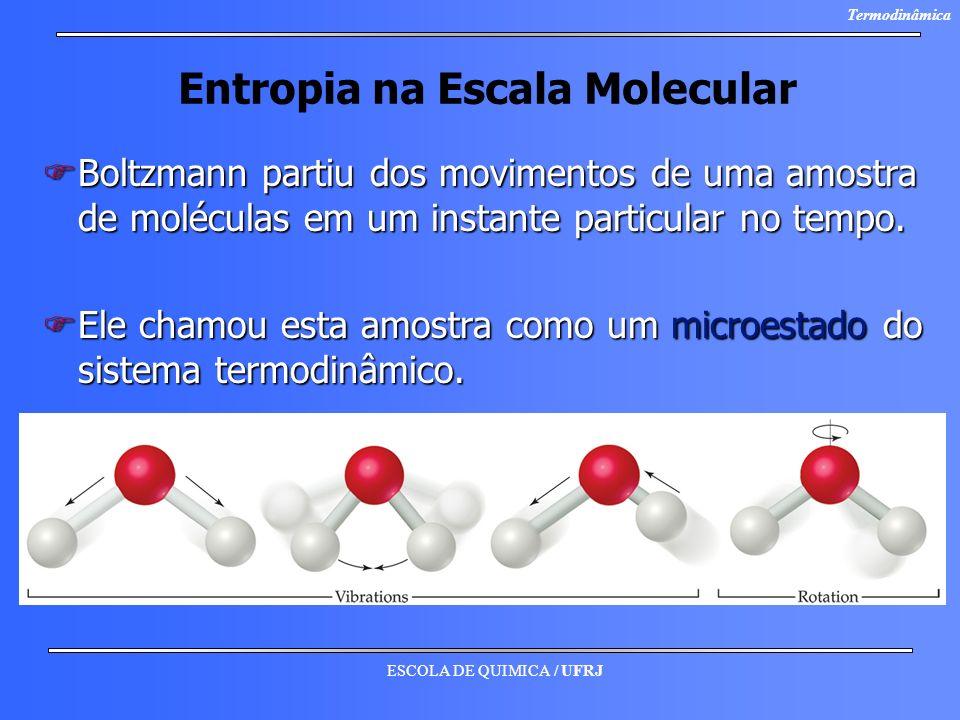 ESCOLA DE QUIMICA / UFRJ Termodinâmica Entropia na Escala Molecular FBoltzmann partiu dos movimentos de uma amostra de moléculas em um instante partic