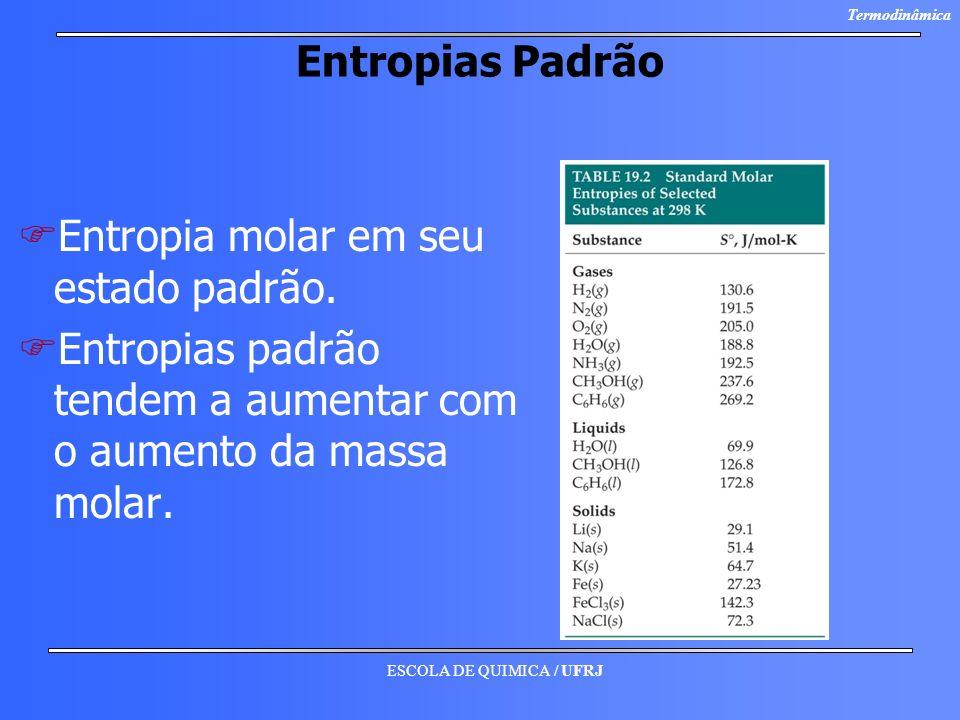 ESCOLA DE QUIMICA / UFRJ Termodinâmica Entropias Padrão F FEntropia molar em seu estado padrão. F FEntropias padrão tendem a aumentar com o aumento da