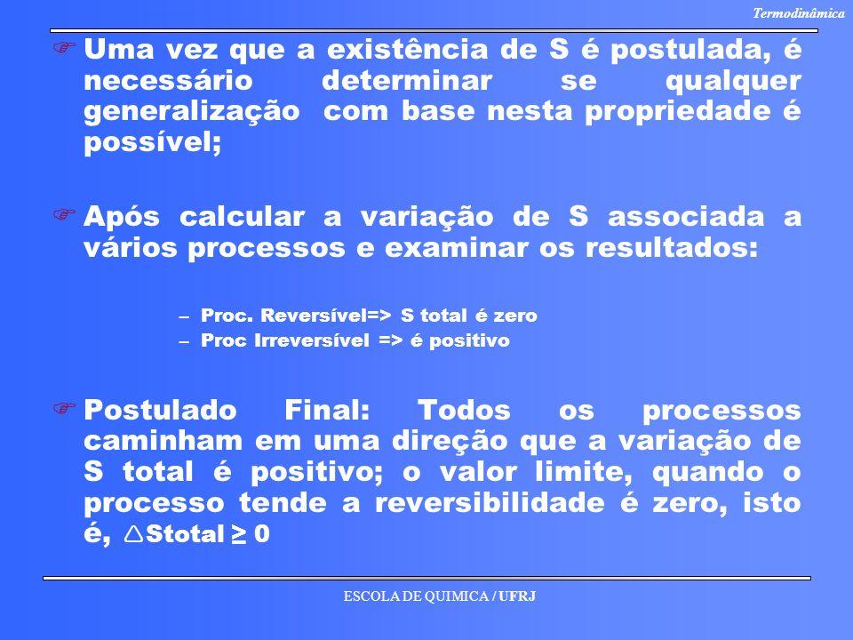 ESCOLA DE QUIMICA / UFRJ Termodinâmica F FUma vez que a existência de S é postulada, é necessário determinar se qualquer generalização com base nesta