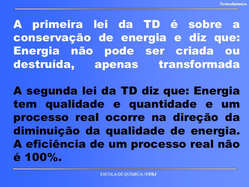 ESCOLA DE QUIMICA / UFRJ Termodinâmica A primeira lei da TD é sobre a conservação de energia e diz que: Energia não pode ser criada ou destruída, apen
