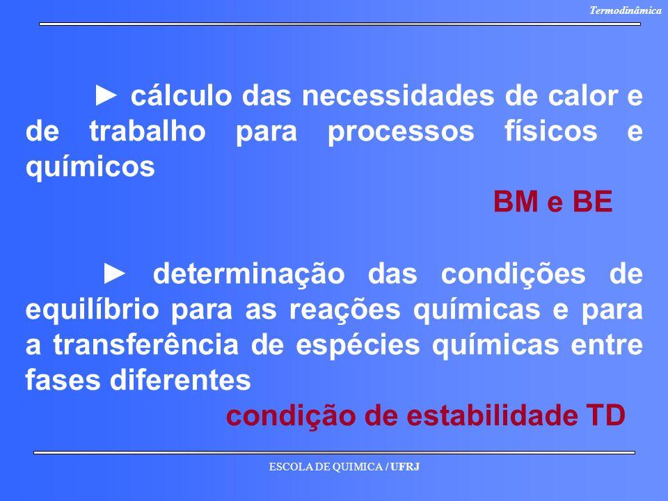 ESCOLA DE QUIMICA / UFRJ Termodinâmica cálculo das necessidades de calor e de trabalho para processos físicos e químicos BM e BE determinação das cond