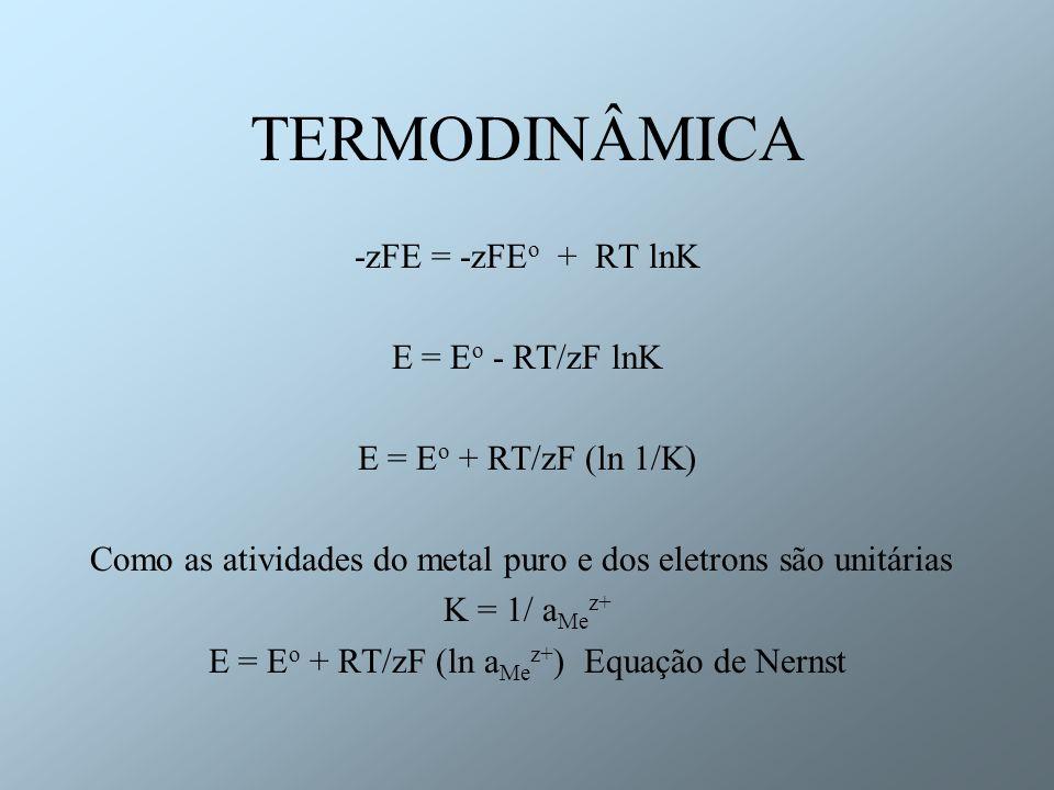 TERMODINÂMICA -zFE = -zFE o + RT lnK E = E o - RT/zF lnK E = E o + RT/zF (ln 1/K) Como as atividades do metal puro e dos eletrons são unitárias K = 1/