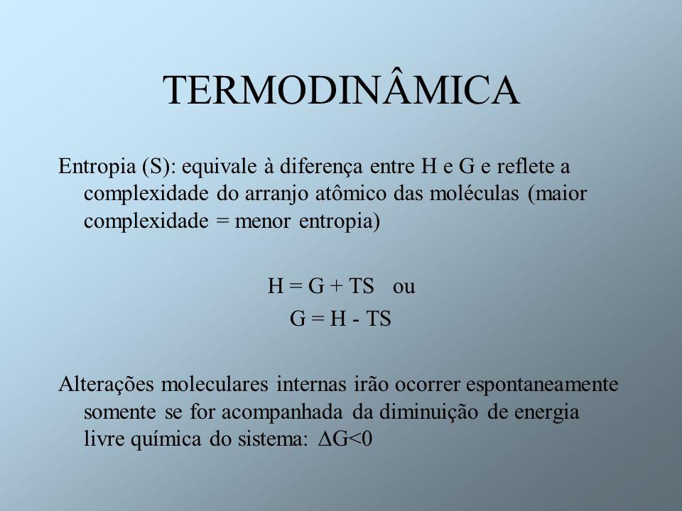 TERMODINÂMICA Entropia (S): equivale à diferença entre H e G e reflete a complexidade do arranjo atômico das moléculas (maior complexidade = menor ent