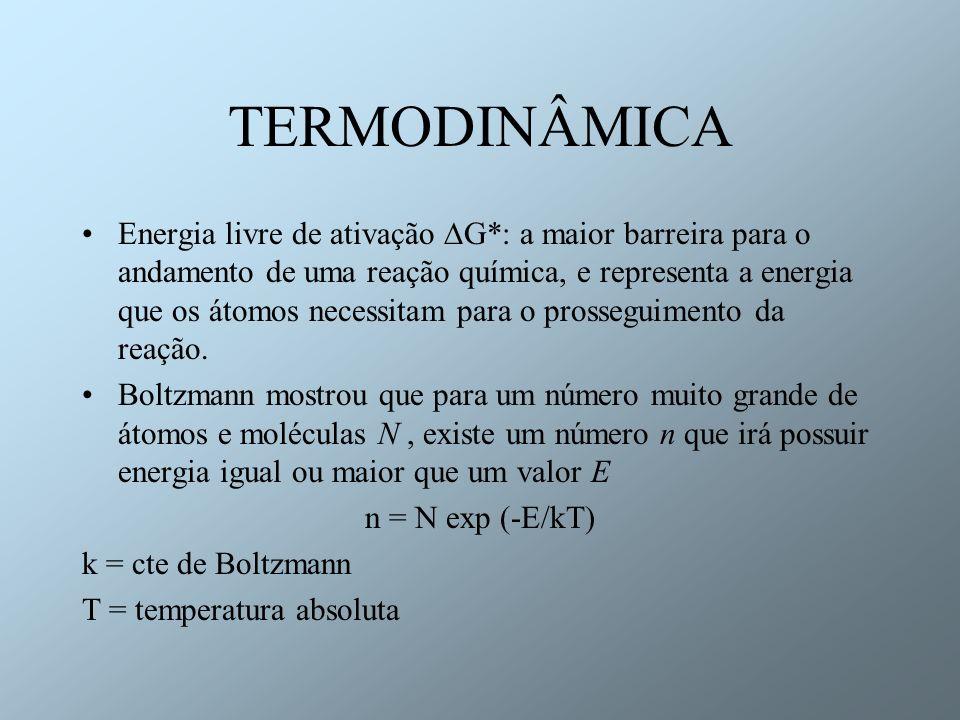 TERMODINÂMICA O número de átomos ou moléculas que atingem G * necessários para que a reação química ocorra é: n = N exp (- G * /kT) Se alguns ou todos os constituintes do sistema químico são ions ou eletrons (possuem cargas) deve ser definida a energia livre eletroquímica G: G = G + q ; G = G + q ; q = zF q = energia elétrica relativa aos ions ou eletrons