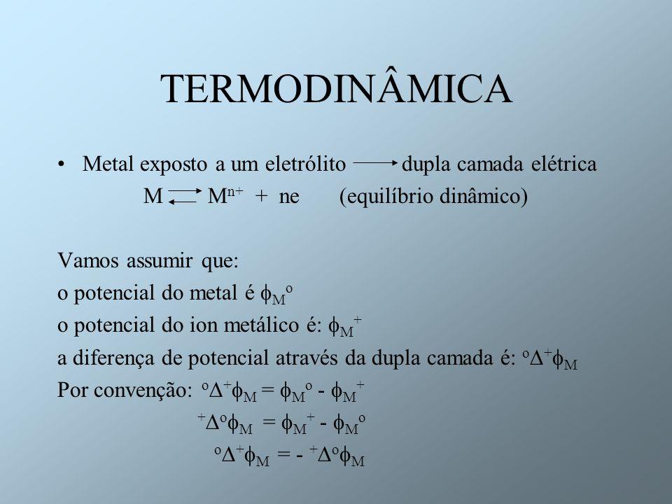 TERMODINÂMICA Metal exposto a um eletrólito dupla camada elétrica M M n+ + ne (equilíbrio dinâmico) Vamos assumir que: o potencial do metal é M o o po