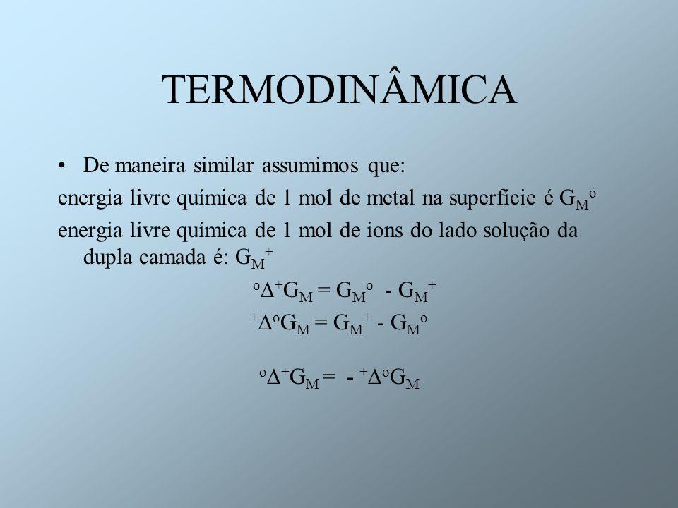 TERMODINÂMICA De maneira similar assumimos que: energia livre química de 1 mol de metal na superfície é G M o energia livre química de 1 mol de ions d