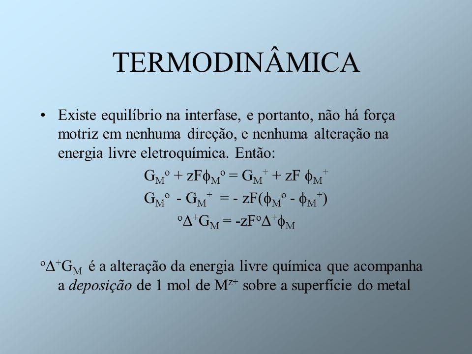 TERMODINÂMICA Potencial de eletrodo Rearranjando a equação anterior + M = - o + G M o /zF Esta diferença de potencial refere-se à diferença de potencial através da dupla camada e é característica para cada sistema.