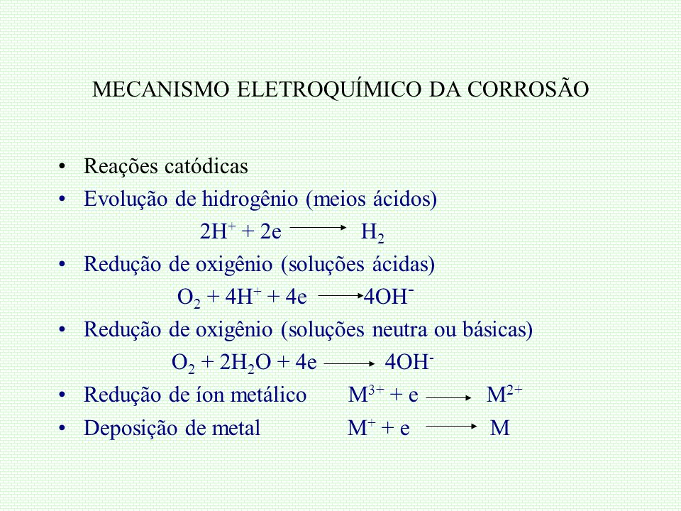 MECANISMO ELETROQUÍMICO DA CORROSÃO Reações catódicas Evolução de hidrogênio (meios ácidos) 2H + + 2e H 2 Redução de oxigênio (soluções ácidas) O 2 +