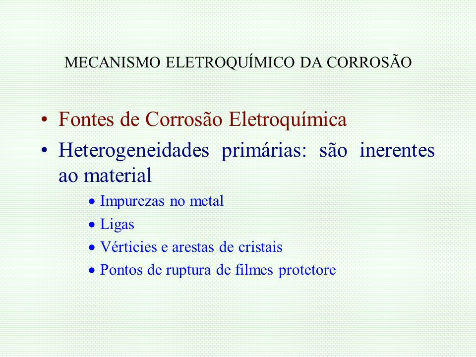 MECANISMO ELETROQUÍMICO DA CORROSÃO Fontes de Corrosão Eletroquímica Heterogeneidades primárias: são inerentes ao material Impurezas no metal Ligas Vé