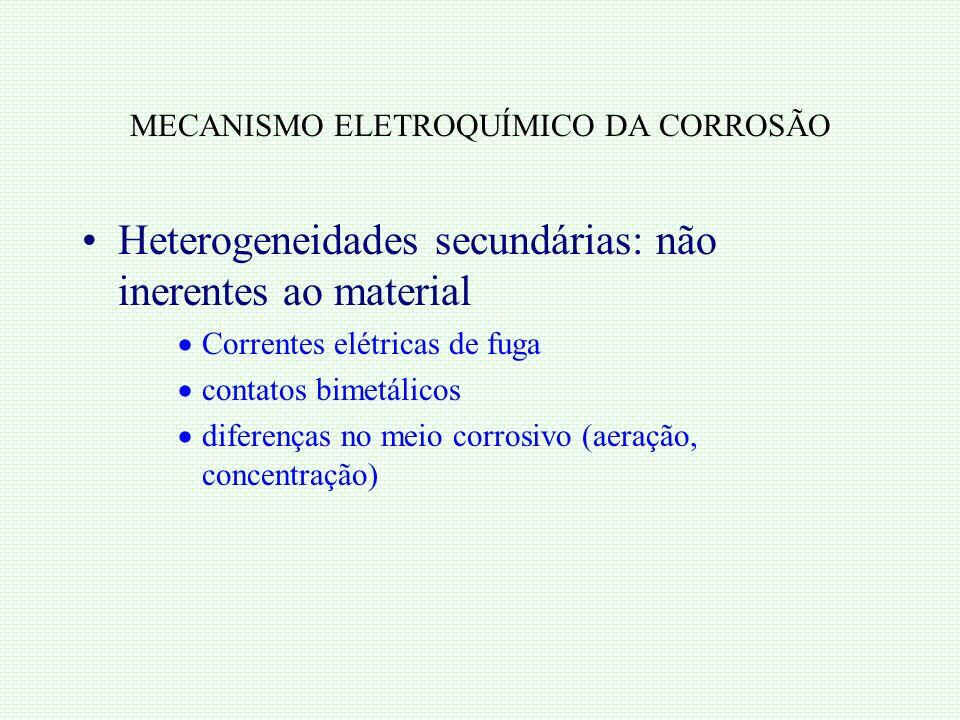 MECANISMO ELETROQUÍMICO DA CORROSÃO Heterogeneidades secundárias: não inerentes ao material Correntes elétricas de fuga contatos bimetálicos diferença