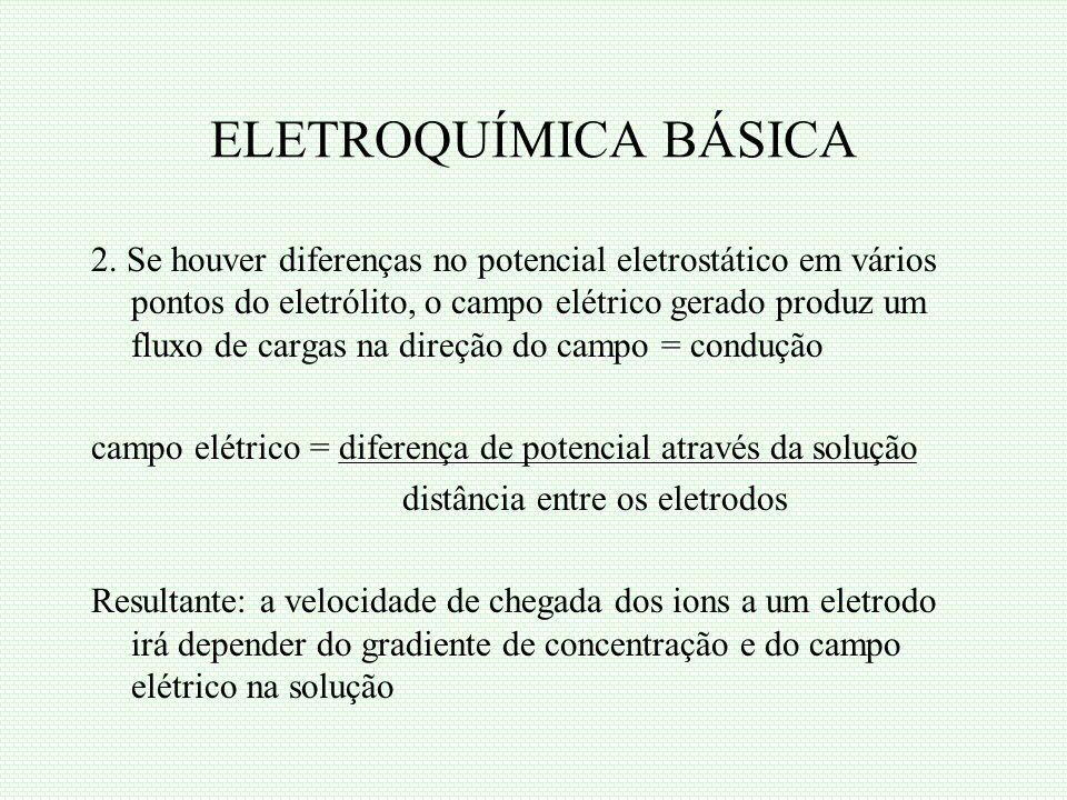 ELETROQUÍMICA BÁSICA 2. Se houver diferenças no potencial eletrostático em vários pontos do eletrólito, o campo elétrico gerado produz um fluxo de car