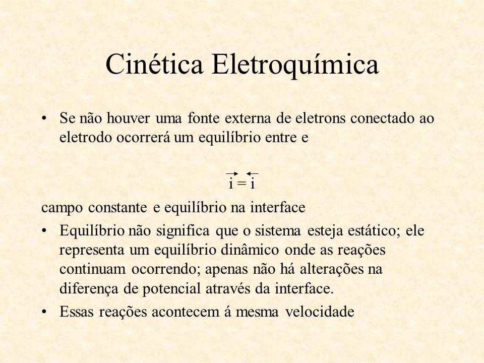 Cinética Eletroquímica Se não houver uma fonte externa de eletrons conectado ao eletrodo ocorrerá um equilíbrio entre e i = i campo constante e equilí