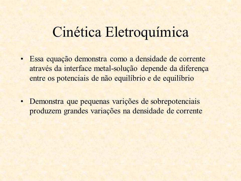 Cinética Eletroquímica Essa equação demonstra como a densidade de corrente através da interface metal-solução depende da diferença entre os potenciais