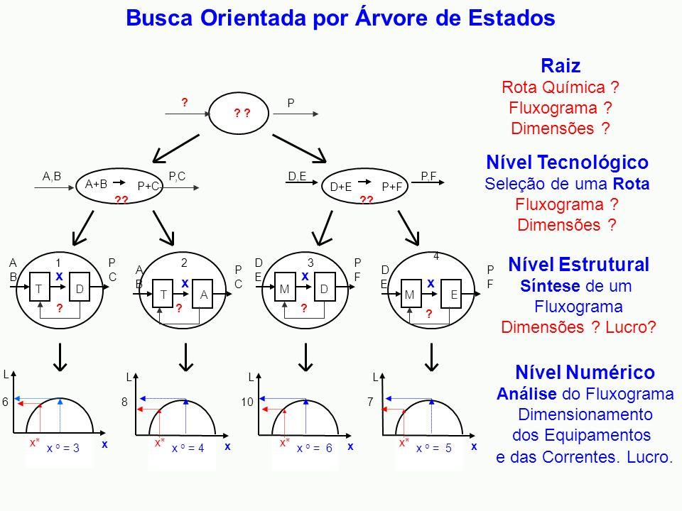 Nível Tecnológico Seleção de uma Rota Fluxograma ? Dimensões ? Nível Estrutural Síntese de um Fluxograma Dimensões ? Lucro? Nível Numérico Análise do