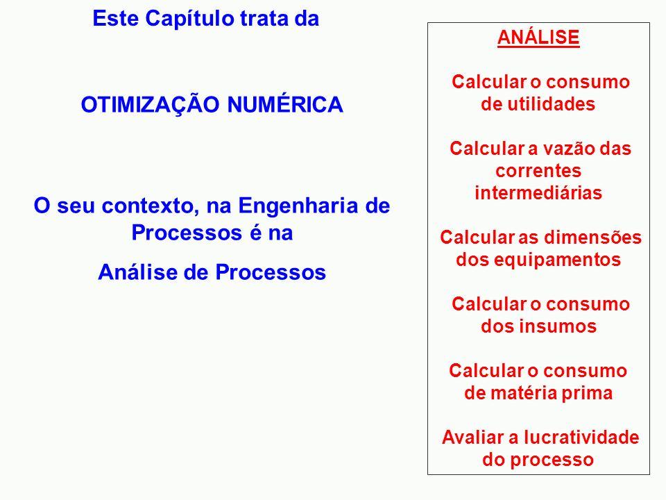 O seu contexto, na Engenharia de Processos é na Análise de Processos Este Capítulo trata da OTIMIZAÇÃO NUMÉRICA ANÁLISE Calcular o consumo de utilidad