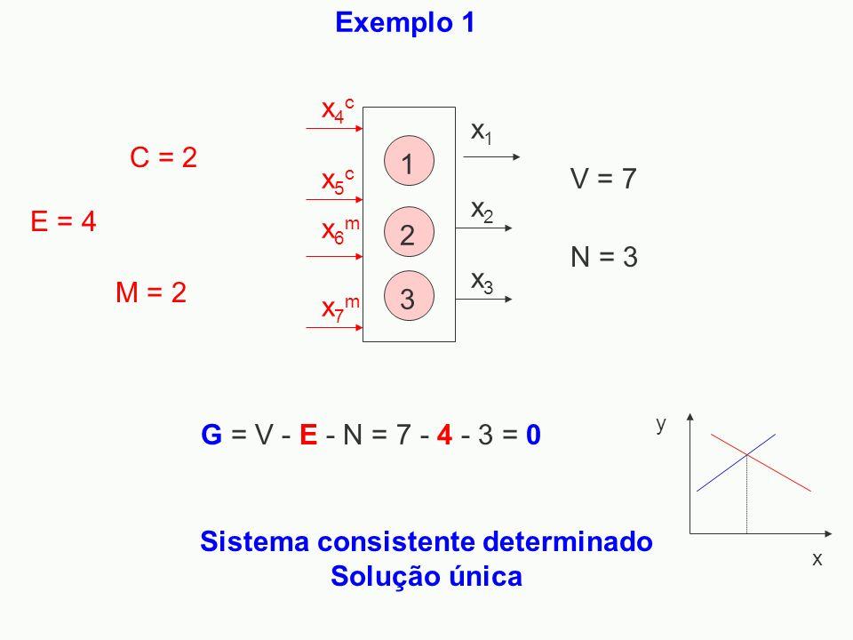 Exemplo 1 x1x1 x2x2 x3x3 x4cx4c x5cx5c x6mx6m x7mx7m 1 2 3 Sistema consistente determinado Solução única y x N = 3 V = 7 C = 2 M = 2 E = 4 G = V - E -