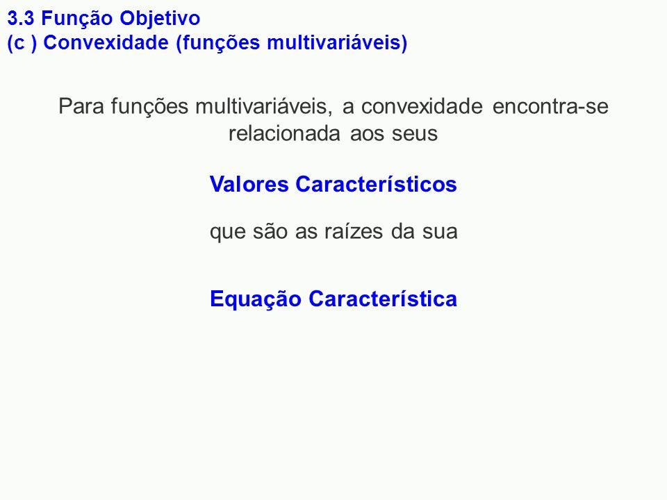 3.3 Função Objetivo (c ) Convexidade (funções multivariáveis) Para funções multivariáveis, a convexidade encontra-se relacionada aos seus Valores Cara