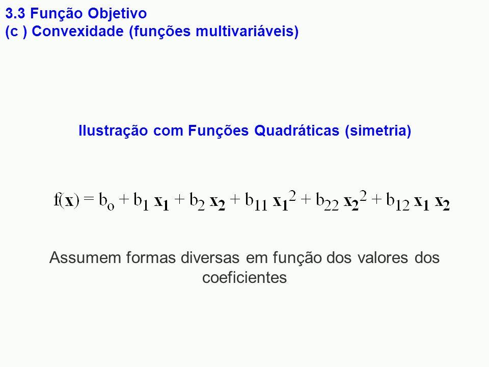 Ilustração com Funções Quadráticas (simetria) 3.3 Função Objetivo (c ) Convexidade (funções multivariáveis) Assumem formas diversas em função dos valo