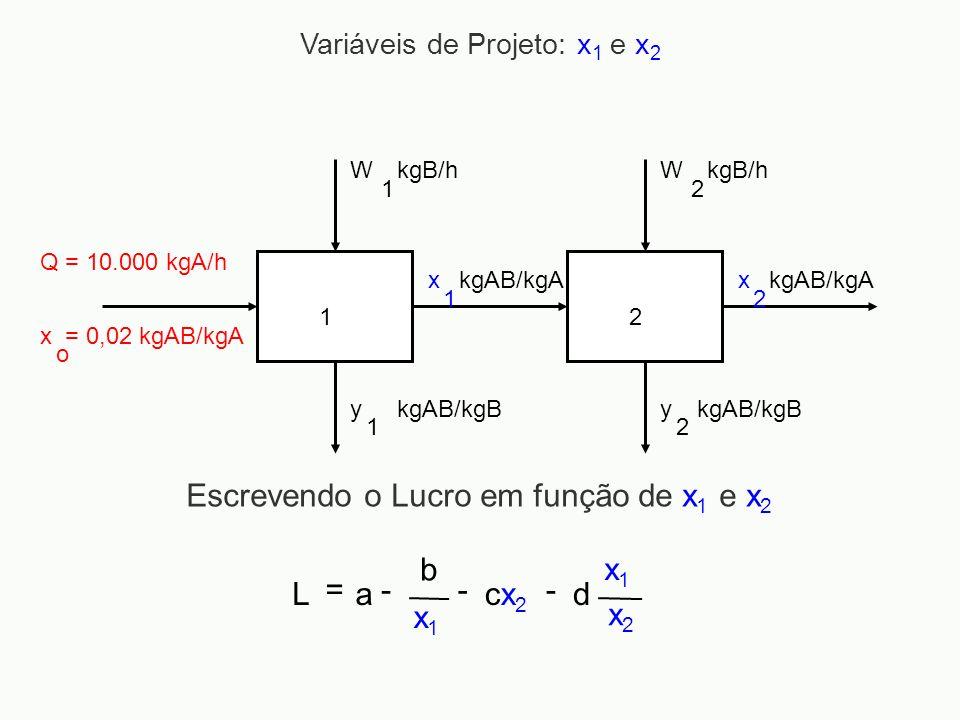 12 Q = 10.000 kgA/h x = 0,02 kgAB/kgA o W 1 kgB/hW 2 y 1 kgAB/kgBy 2 x 1 x 2 kgAB/kgA Variáveis de Projeto: x 1 e x 2 Escrevendo o Lucro em função de