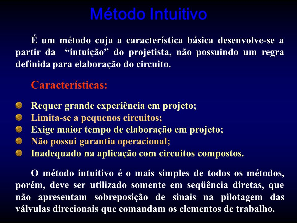 Método Intuitivo É um método cuja a característica básica desenvolve-se a partir da intuição do projetista, não possuindo um regra definida para elabo