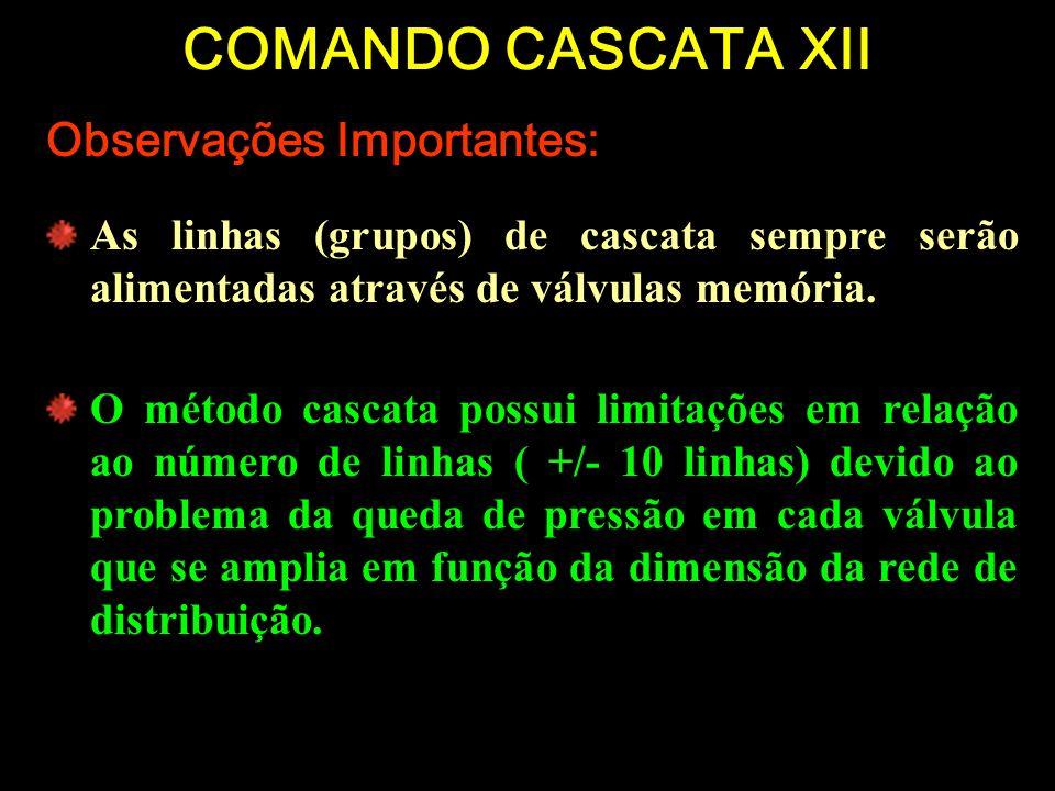 COMANDO CASCATA XII Observações Importantes: As linhas (grupos) de cascata sempre serão alimentadas através de válvulas memória. O método cascata poss