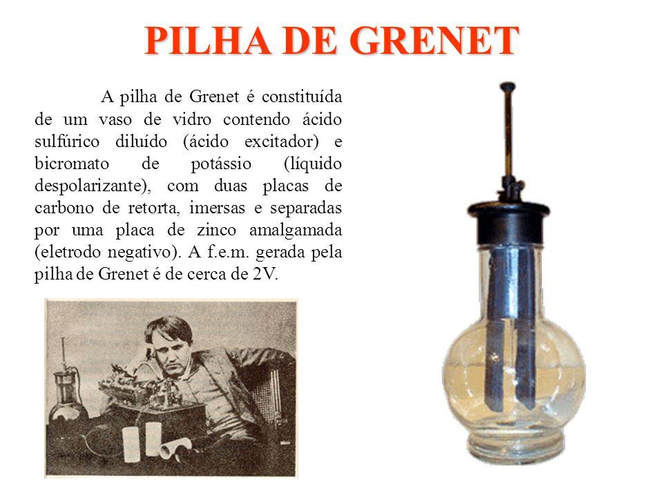 PILHA DE GRENET A pilha de Grenet é constituída de um vaso de vidro contendo ácido sulfúrico diluído (ácido excitador) e bicromato de potássio (líquid