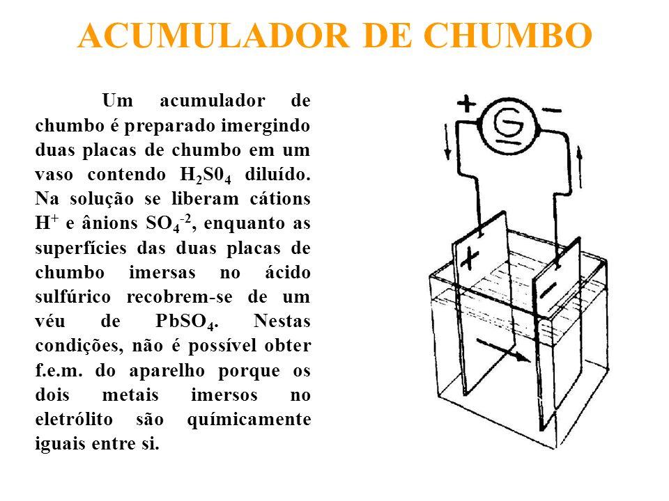 ACUMULADOR DE CHUMBO Um acumulador de chumbo é preparado imergindo duas placas de chumbo em um vaso contendo H 2 S0 4 diluído. Na solução se liberam c