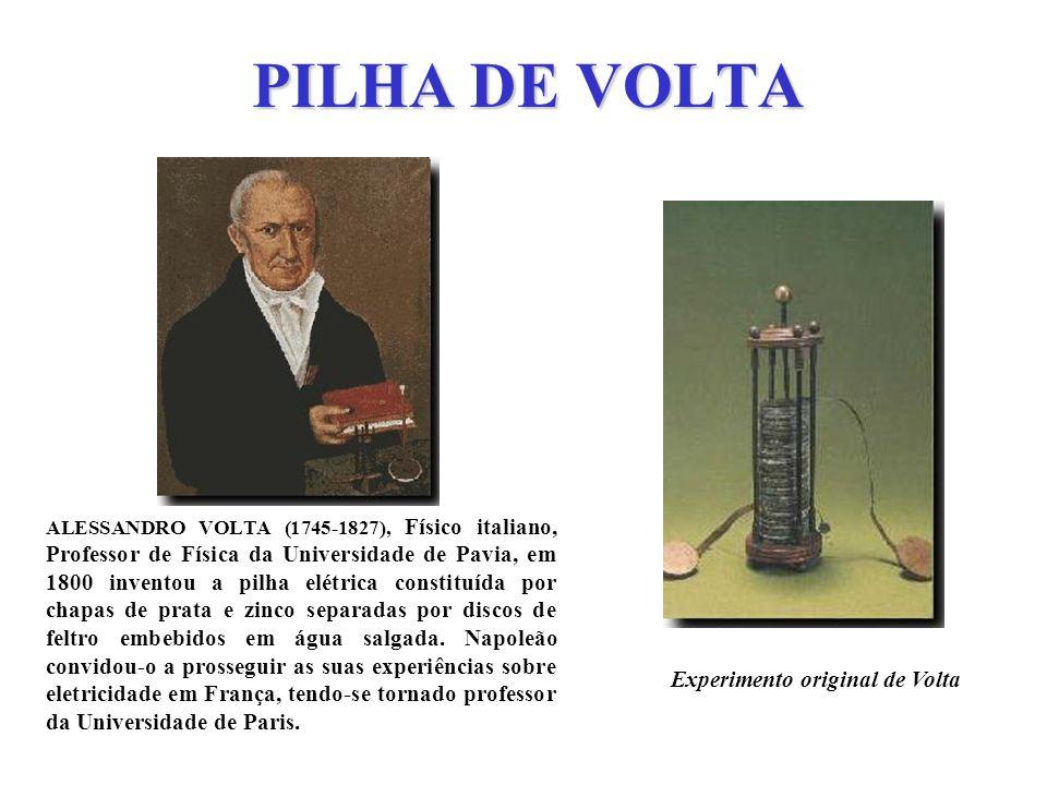 PILHA DE VOLTA ALESSANDRO VOLTA (1745-1827), Físico italiano, Professor de Física da Universidade de Pavia, em 1800 inventou a pilha elétrica constitu