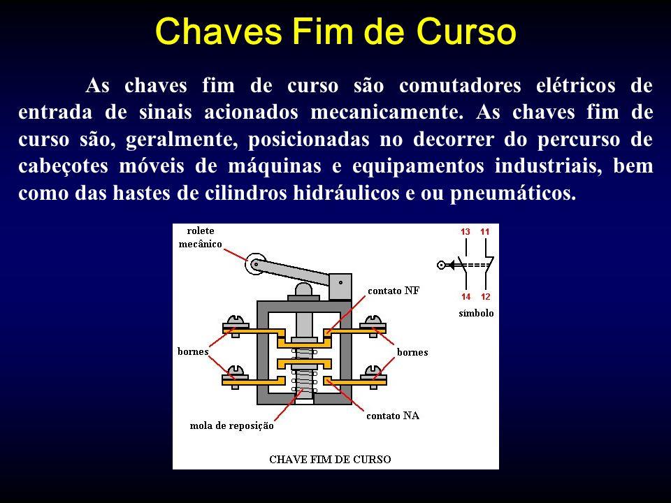 Chaves Fim de Curso As chaves fim de curso são comutadores elétricos de entrada de sinais acionados mecanicamente.