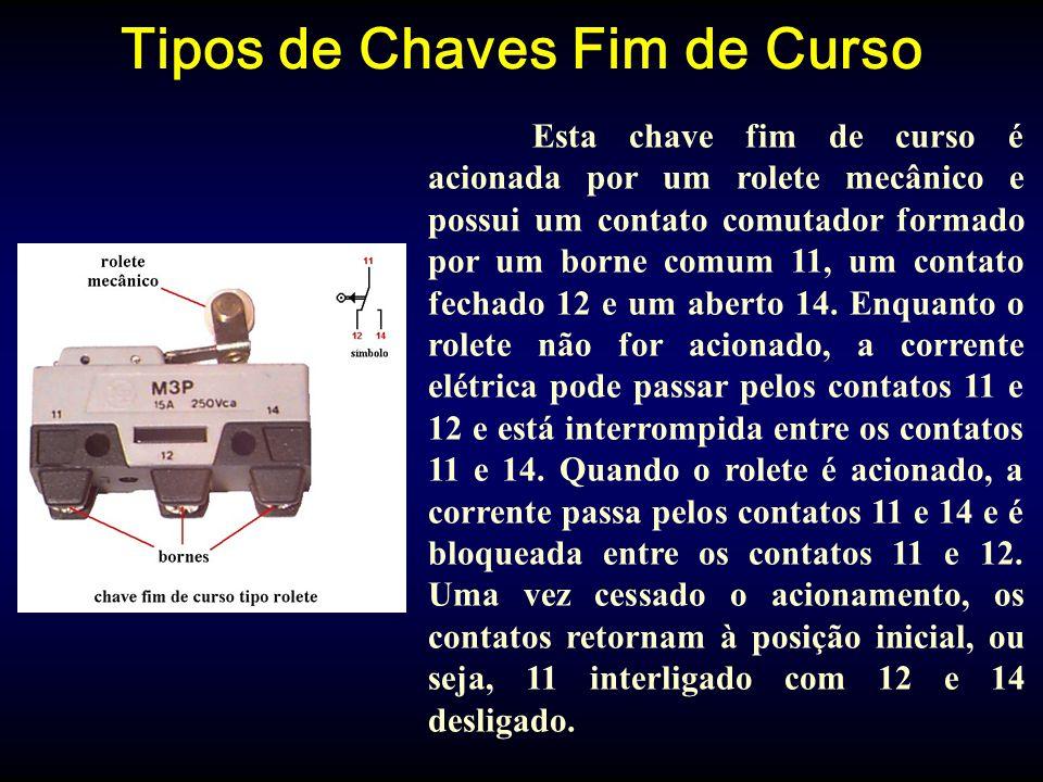 Tipos de Chaves Fim de Curso Esta chave fim de curso é acionada por um rolete mecânico e possui um contato comutador formado por um borne comum 11, um contato fechado 12 e um aberto 14.