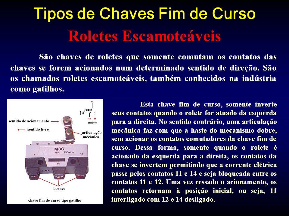 Tipos de Chaves Fim de Curso São chaves de roletes que somente comutam os contatos das chaves se forem acionados num determinado sentido de direção.