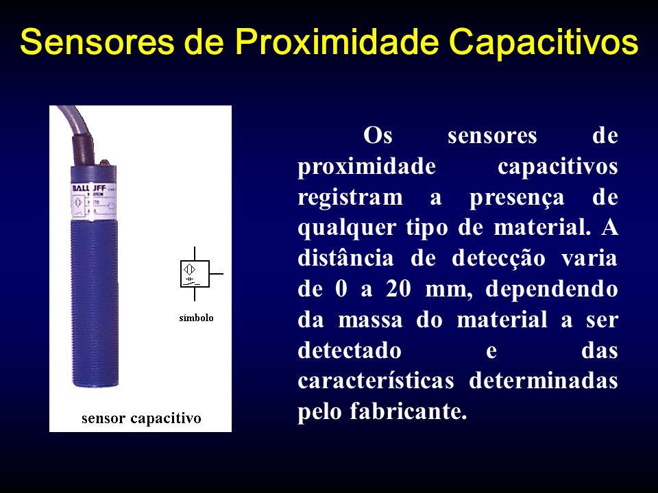 Sensores de Proximidade Capacitivos Os sensores de proximidade capacitivos registram a presença de qualquer tipo de material.