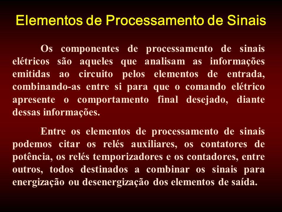 Elementos de Processamento de Sinais Os componentes de processamento de sinais elétricos são aqueles que analisam as informações emitidas ao circuito pelos elementos de entrada, combinando-as entre si para que o comando elétrico apresente o comportamento final desejado, diante dessas informações.